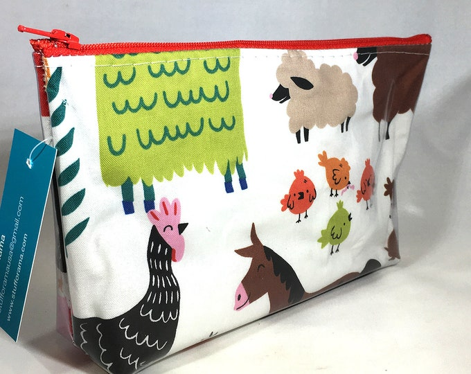 Make Up Bag - Farm Animals Half Size Zipper Pouch