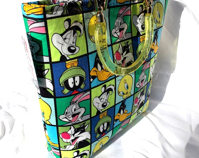 Tote Bag Purse Handbag - Looney Tunes Squares - Small Size