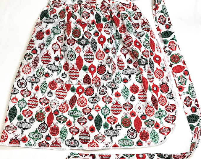 Retro Shiny Bright Ornaments - Half Apron - Vintage Pin Up Skirt Style