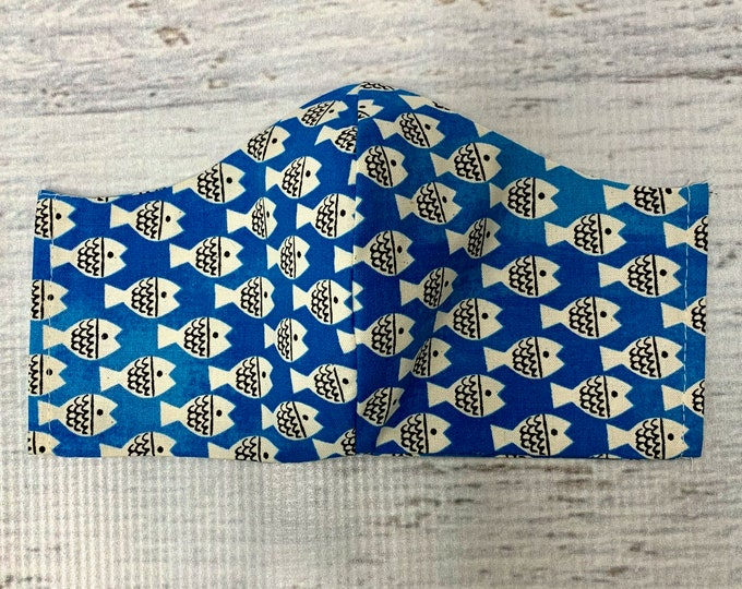 Christian Robinson Spectacle Fish Friends Blue  - Face Masks - 100% Cotton - Washable With Filter Pockets - Nose Wire - Ties or Elastic
