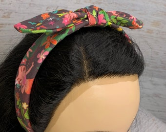 Miss Fluff Hula Cuties - Pin Up Style Tie Knot Headband with Removable Bow - Hair Wrap - Cotton - Aloha Print - Hawaiian Print