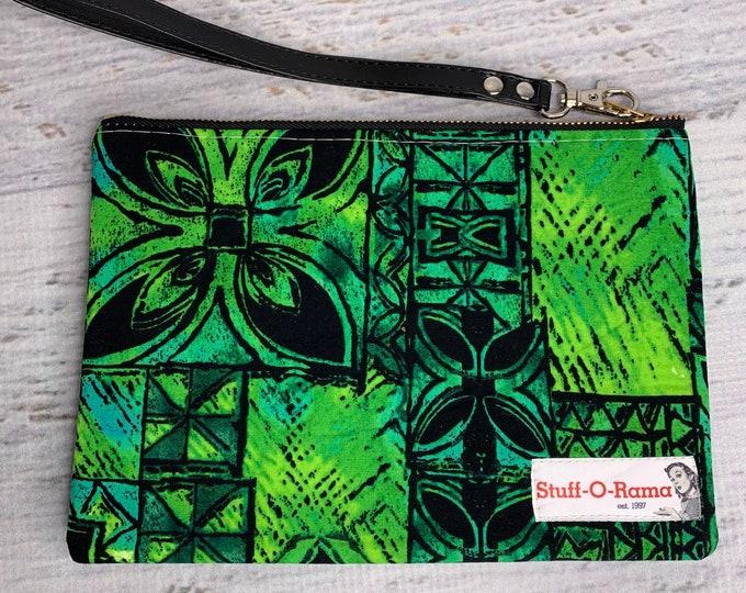 Green & Black Tapa Cloth - Hawaiian Aloha Print - Clutch Wallet Wristlet