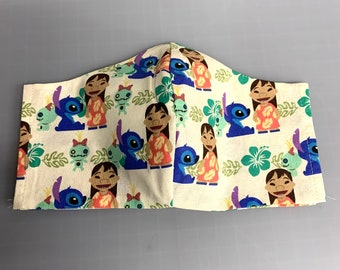 Lilo & Stitch - Face Mask Coverings - 100% Cotton - Washable With Filter Pockets - Nose Wire - Ties or Elastic
