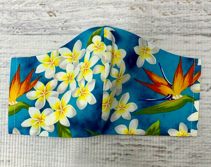 Blue Plumeria Frangipani Bird of Paradise  - Face Masks - 100% Cotton - Washable With Filter Pockets - Nose Wire - Ties or Elastic