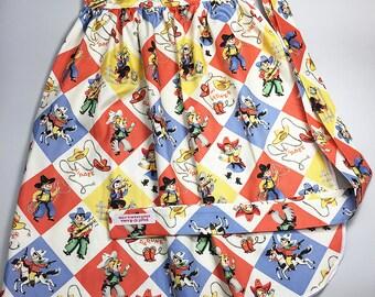 Half Apron - Vintage Pin Up Skirt Style - Retro Cowboys