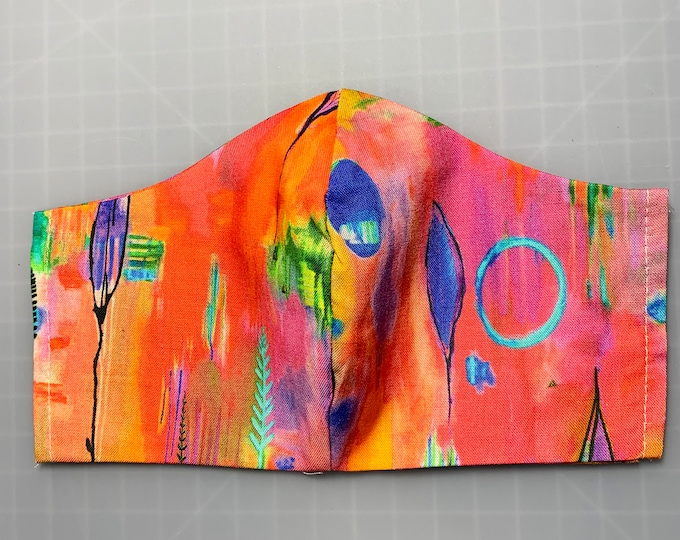 MidCentury Modern Abstract - Face Mask Coverings - 100% Cotton - Washable With Filter Pockets - Nose Wire - Ties or Elastic