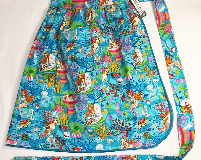 Half Apron - Vintage Pin Up Skirt Style - Mermaids
