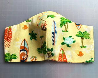 Surfboards and Honu Sea Turtles - Face Mask Coverings - 100% Cotton - Washable With Filter Pockets - Nose Wire - Ties or Elastic