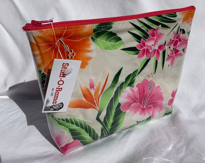 Tropical Flowers - Cream - Makeup Bag - Hawaiian Aloha Print