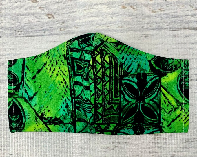 Tapa Cloth - Green Black Blue - Face Mask Coverings - 100% Cotton - Washable With Filter Pockets - Nose Wire - Ties or Elastic