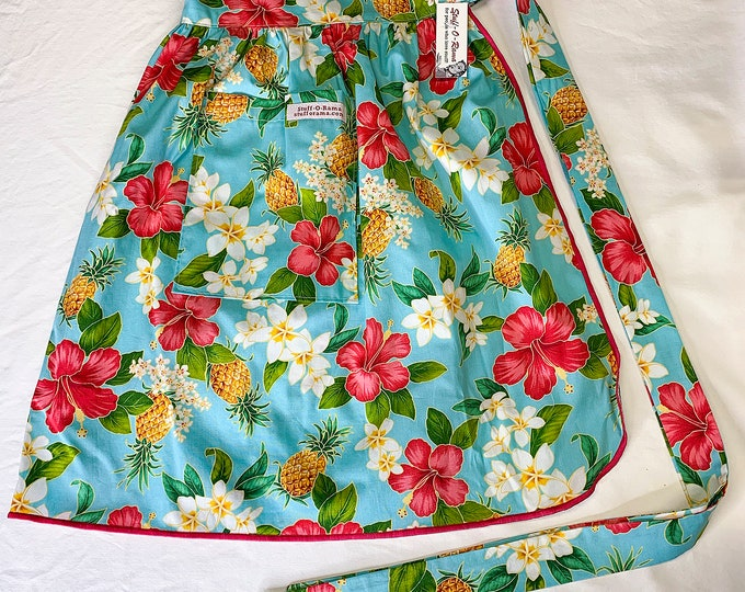 Tropical Flowers - Blue Pink Hibiscus Pineapple White Plumeria - Half Apron - Vintage Pin Up Skirt Style