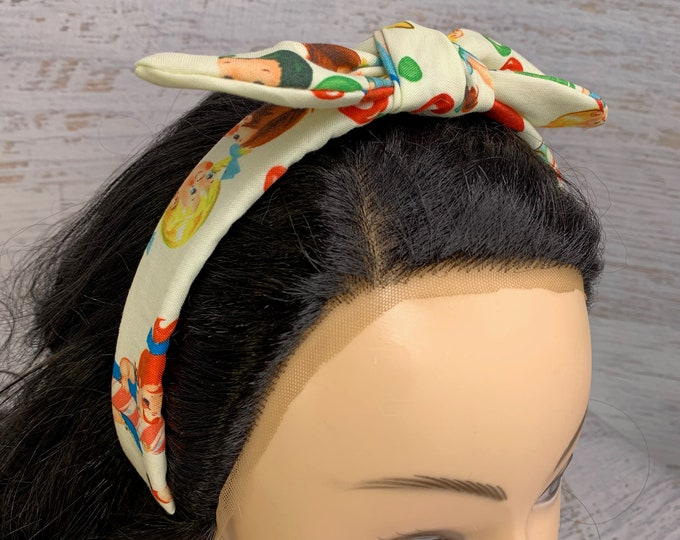 Retro Candy Kids - Pin Up Style Tie Knot Headband with Removable Bow - Hair Wrap - Cotton Headband - Vintage Style