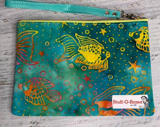 Tropical Fish Print - Batik Style - Hawaiian Aloha Print - Clutch Wallet Wristlet