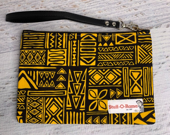 Black Yellow Tapa Cloth - Hawaiian Aloha Print - Clutch Wallet Wristlet