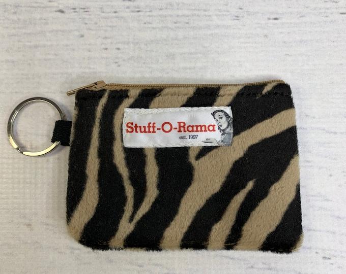 Dark Zebra Stripes - Faux Fur - Coin Purse - Keychain - Wallet - Key Fob - Key Ring