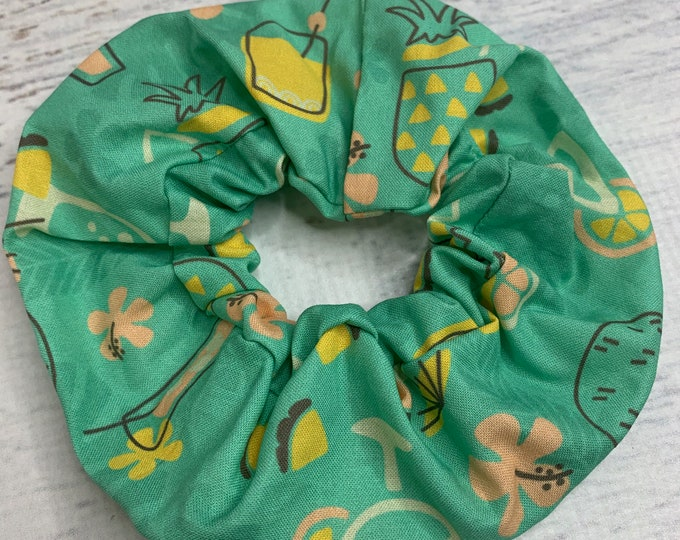 Pineapple Sips Cocktails - Elastic Hair Tie - Fabric - Wide Width - Oversize - Scrunchie style - Disneybound - MCM - Retro - Vintage - Tiki
