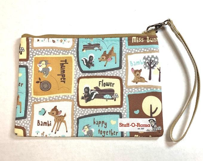 Wristlet Zipper Pouch Clutch Purse - Bambi and Friends