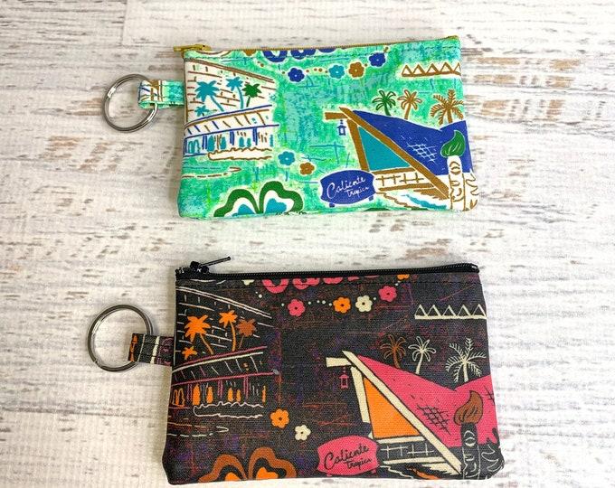 Tiki Oasis Collection 2021 - Michael Uhlenkott - Cotton Canvas - Coin Purse - Keychain - Wallet - Key Fob - Key Ring - Hawaiian Print