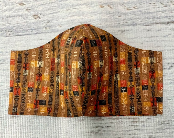 Tapa Cloth - Tiki Beads - Face Mask Coverings - 100% Cotton - Washable With Filter Pockets - Nose Wire - Ties or Elastic