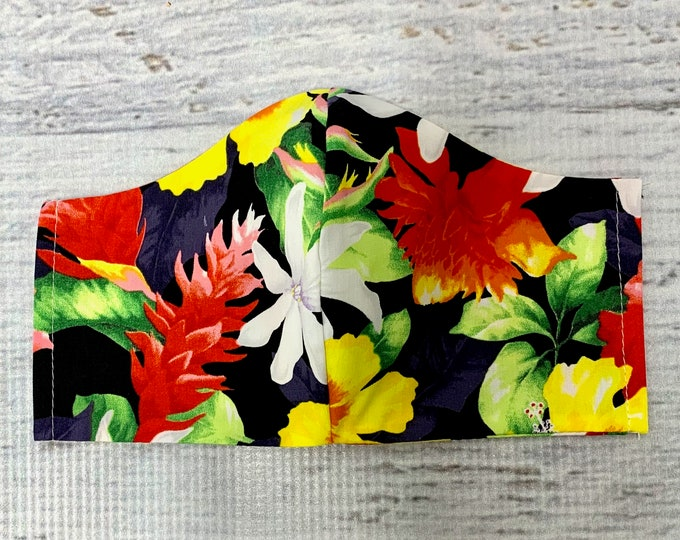Hawaiian Ginger Bird of Paradise  - Face Masks - 100% Cotton - Washable With Filter Pockets - Nose Wire - Ties or Elastic