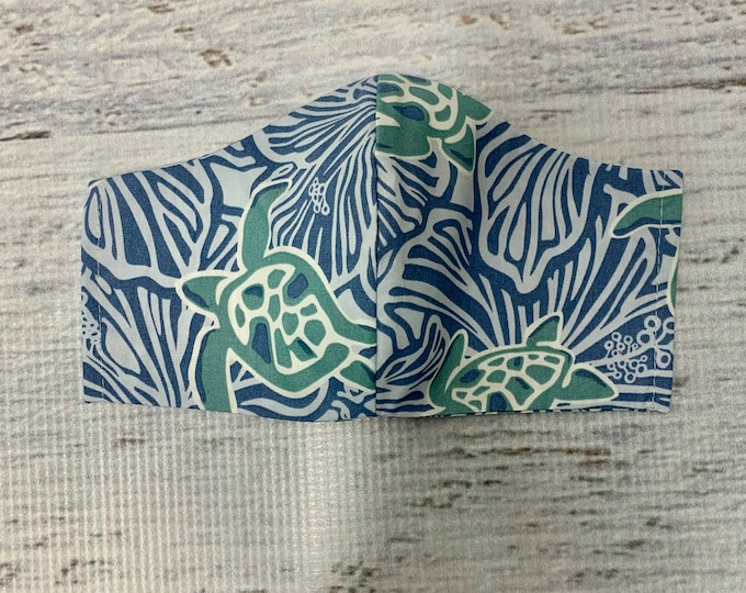 Batik Style - Honu Sea Turtle - Face Mask Coverings - 100% Cotton - Washable With Filter Pockets - Nose Wire - Ties or Elastic