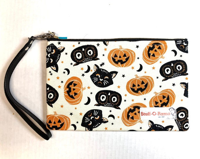 Wristlet Zipper Pouch Clutch Purse - Vintage Halloween