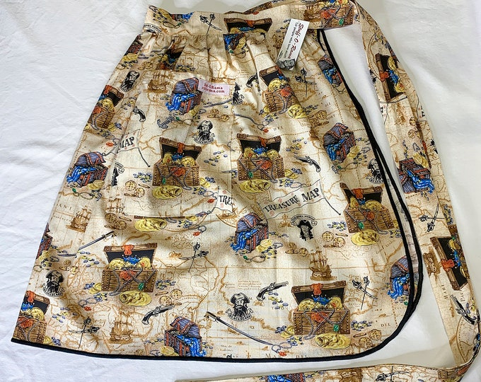 Half Apron - Vintage Pin Up Skirt Style - Pirate Treasure Map