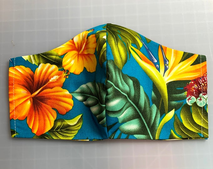 Turquoise Aloha Print - Hibiscus & Bird of Paradise - Face Masks - 100% Cotton - Washable With Filter Pockets - Nose Wire - Ties or Elastic