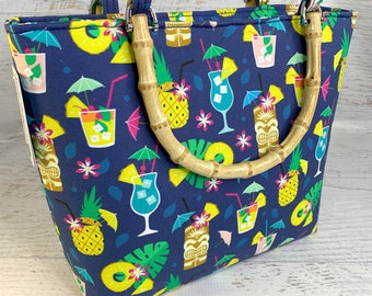 Hawaiian Summer Cocktail Party  - Tote Bag - Purse - Handbag - Crossbody - Canvas - Tiki - MCM - Tiki Bar - Tiki Drinks