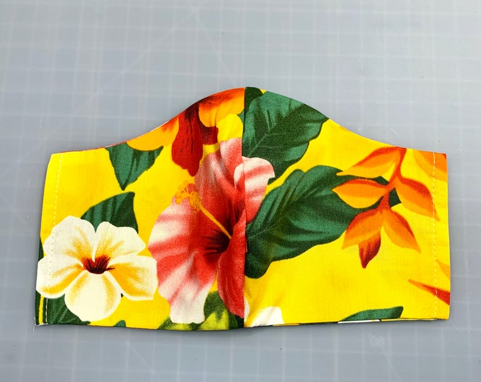 Bright Yellow Aloha Hawaiian Print - Face Masks - 100% Cotton - Washable With Filter Pockets - Nose Wire - Ties or Elastic