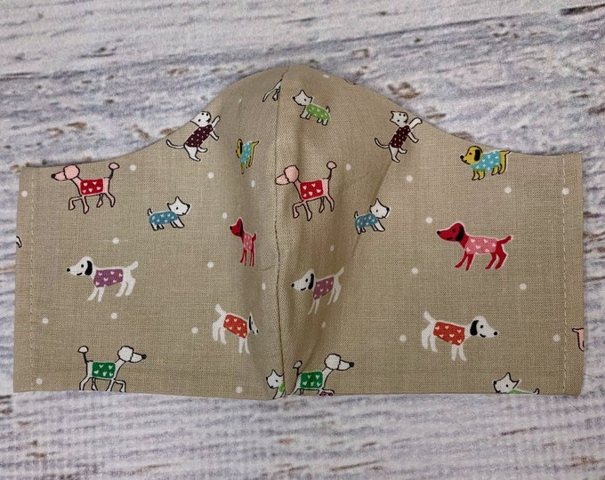 Dogs In Sweaters - Face Masks - 100% Cotton - Washable With Filter Pockets - Nose Wire - Ties or Elastic