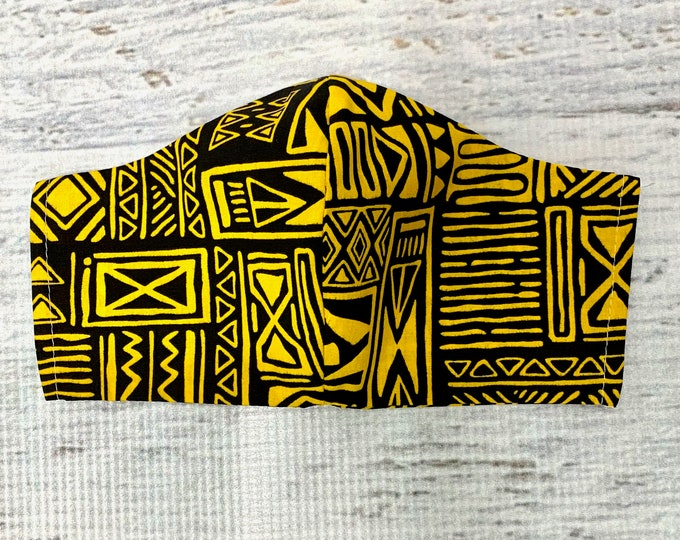 Tapa Cloth - Black Yellow - Face Mask Coverings - 100% Cotton - Washable With Filter Pockets - Nose Wire - Ties or Elastic