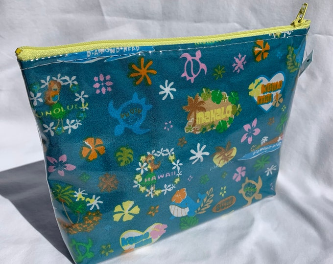 Tropical Flowers - Blue - Kawaii Hawaiian Island Icons - Makeup Bag - Hawaiian Aloha Print