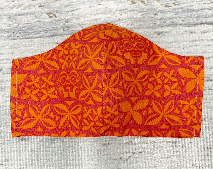 Aloha Flowers - Face Mask Coverings - 100% Cotton - Washable With Filter Pockets - Nose Wire - Ties or Elastic