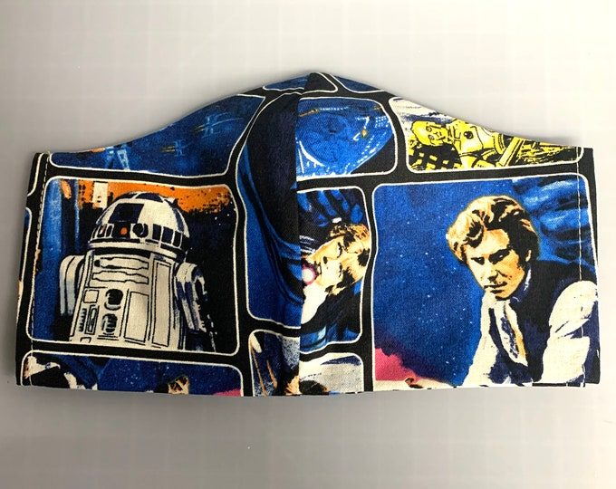 70s Star Wars - Face Masks - 100% Cotton - Washable With Filter Pockets - Nose Wire - Ties or Elastic