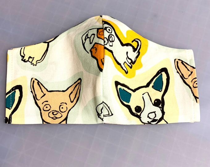 Ay Chihuahua - Face Masks - 100% Cotton - Washable With Filter Pockets - Nose Wire