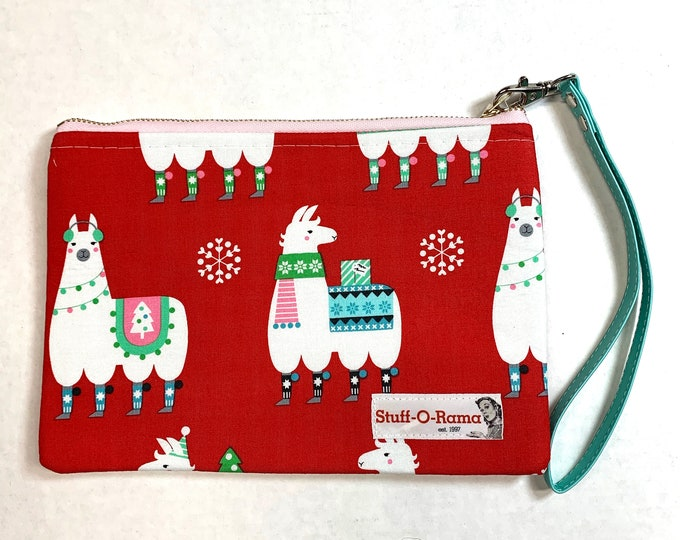 Christmas Holiday Llamas - Clutch Wallet Wristlet