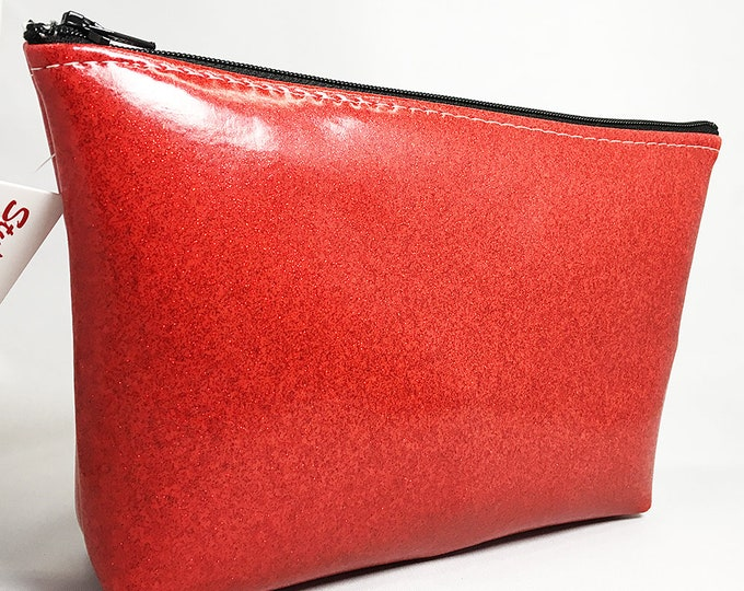 Make Up Bag - Blue with Red Glitter Heart Zipper Pouch