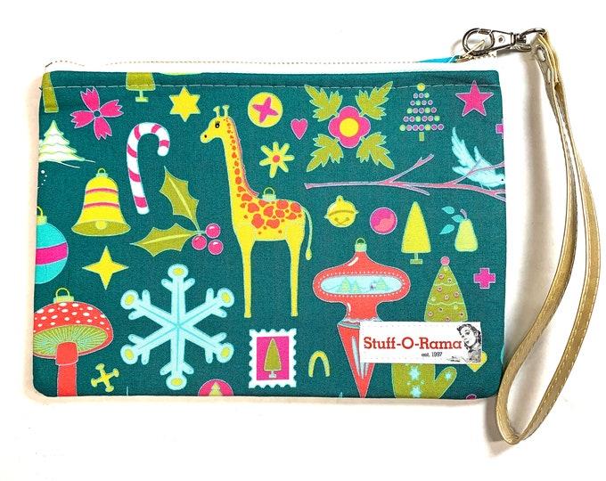 Retro Vintage Christmas Ornaments - Green - Clutch Wallet Wristlet