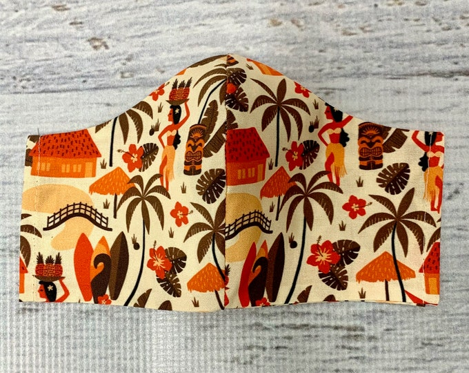 Hawaiian Village Mid Century - Face Mask Coverings - 100% Cotton - Washable With Filter Pockets - Nose Wire - Ties or Elastic