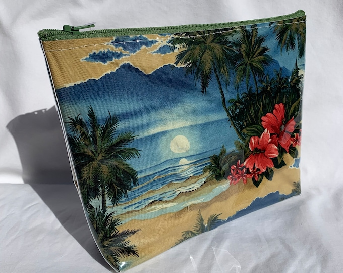 Tropical Sunset - Retro 70s - Makeup Bag - Hawaiian Aloha Print