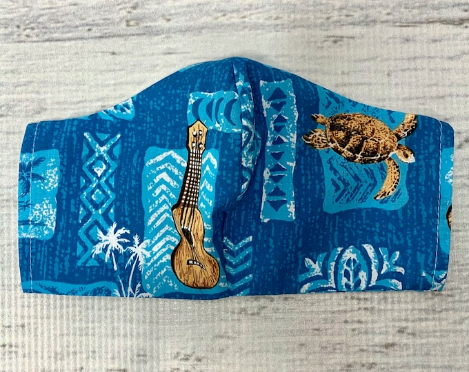 Blue Honu Sea Turtle and Ukulele - Face Masks - 100% Cotton - Washable With Filter Pockets - Nose Wire - Ties or Elastic