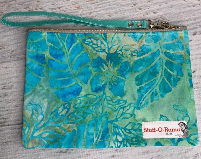 Hawaiian Tropical Print - Batik Style - Hawaiian Aloha Print - Clutch Wallet Wristlet