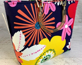 Mod Flowers - Tote Bag - Purse - Handbag - Crossbody - Canvas - Tiki - MCM - Floral Print - 60s