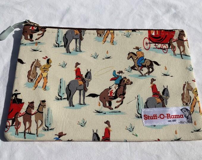 Zipper Pouch Clutch Purse - Retro Vintage Cowboy and Indians
