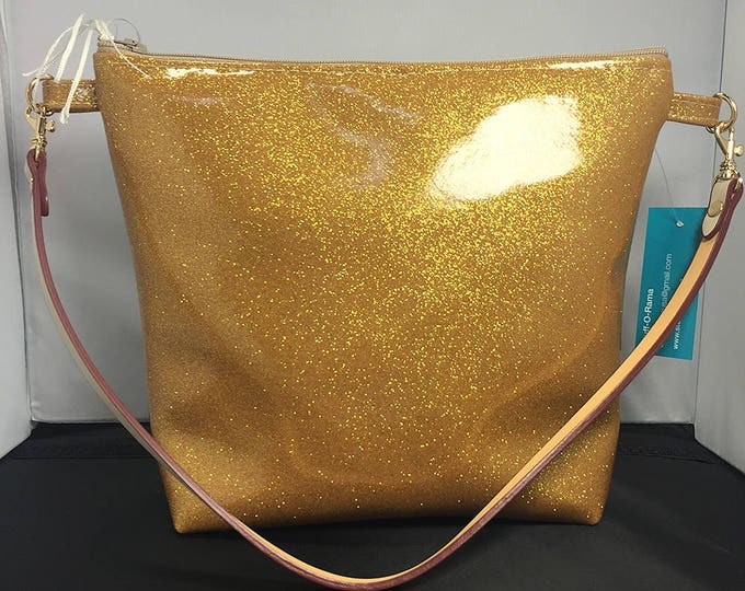 Clutch Purse - Gold Glitter Vinyl (Small)
