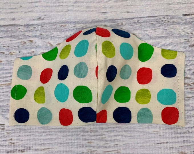 Rock the Dots - Christmas Polka Dots - Face Mask Coverings - 100% Cotton - Washable With Filter Pockets - Nose Wire - Ties or Elastic