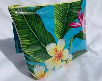 Tropical Flowers - Turquoise - Bird of Paradise Plumeria - Makeup Bag - Hawaiian Aloha Print
