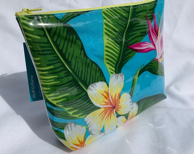 Tropical Flowers - Turquoise - Bird of Paradise Plumeria - Makeup Bag