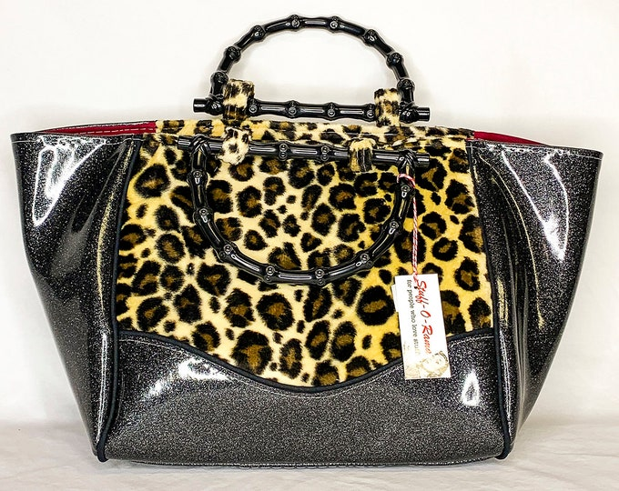 Vinyl Shoulder Bag - Black Glitter Leopard